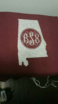 Alabama themed monogram glitter vinyl shirt.. please like krafting kountry on facebook.