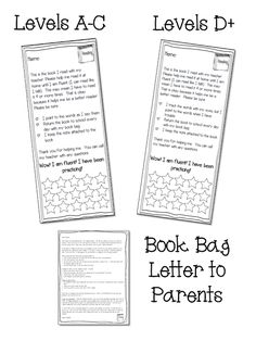 Book Marks to send home with Guided Reading books