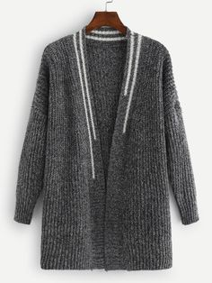 Shop Contrast Stripe Trim Drop Shoulder Cardigan at ROMWE, discover more fashion styles online. Knit Cardigan Pattern, Cable Knit Cardigan, Oversized Cardigan, Sweater Cardigan, Angora Sweater, Nice Outfits, Cute Tops, Womens Scarves, Tejidos