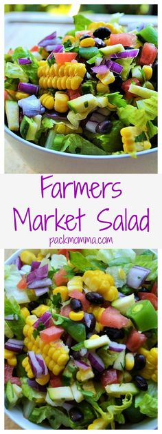 Farmers Market Salad | Farmers Market Salad is a simple healthy vegetable salad that's fun, delicious and too pretty not to enjoy. The perfect healthy choice to brighten any meal. | Pack Momma | www.packmomma.com