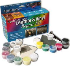 Liquid Leather Pro Leather and Vinyl Repair Kit 7 Intermix colors. Bonding film, Re-usable grain papers. Leather Kits, Leather Repair, Tools And Toys, Organic Cleaning Products, Vinyl Fabric, Home Repairs, See On Tv, Animal Pillows, Arts And Crafts Supplies