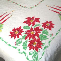 Large Christmas Tablecloth 77x58 Vintage by AtticDustAntiques