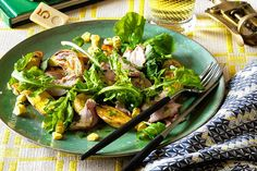 Shaved pork salad with argula, corn and potatoes. My favorite pork tenderloin recipe. A healthy and delicious 30 minute meal!!! (I use canned corn. Shame on me.)