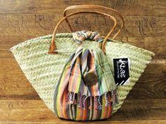 Capazo de palma con cierre kikoy de Kbas (multicolor)