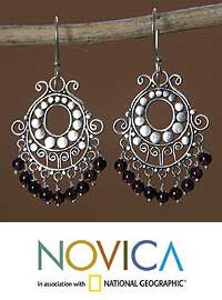 Garnet chandelier earrings, 'Bali Fanfare' at The Veterans Site