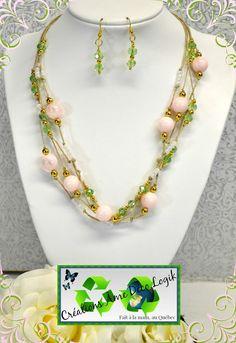 Ensemble bohème de ton or, perle blanche, perles rose tendre, cristaux de verre vert tendre, chanvre tan, fête des mères, noël, anniversaire