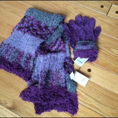 """Scarf & Glove Set, NWT Sonoma brand matching scarf and glove set, very soft. Colors are gray and eggplant. Gloves appear to be a lighter/brighter purple in 4th picture, but it's just the lighting (they are a deeper/eggplant shade). Scarf is 89% nylon, 10% acrylic and 1% """"other fiber""""; gloves are: Body: 95% nylon, 1% spandex, 4% """"other fiber""""; Outer cuff: 91% nylon, 7% acrylic, 1% spandex, 1% """"other fiber""""; Inner cuff: 89% nylon, 8% polyester, 2% rubber, 1% spandex. Sonoma Accessories"""