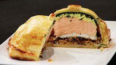 Salmon coulibiac: delicious, layered salmon pastry pie.