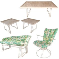 For Sale on - This stunning Mid-Century Modern, patio set includes a gliding settee, a lounge chair, two end tables, and a coffee table. The sleek settee and lounge Vintage Outdoor Furniture, Metal Patio Furniture, Garden Furniture, Modern Furniture, Modern Patio, Mid-century Modern, Patio Glider, Iron Table, Upholstery