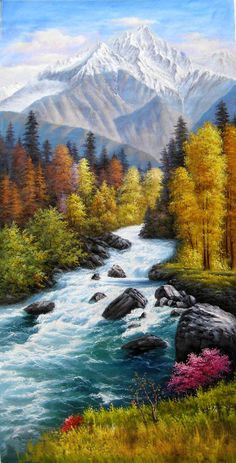 What is Your Painting Style? How do you find your own painting style? What is your painting style? Waterfall Paintings, Scenery Paintings, Mountain Paintings, Nature Paintings, Beautiful Paintings, Beautiful Landscapes, Landscape Paintings, Canvas Painting Nature, Acrylic Landscape Painting