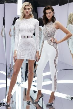 Zuhair Murad Spring 2017 Ready-to-Wear: Two glam looks! The dress on the right has a beautiful zebra print. The white jumpsuit with the silver embellishments on the side of the pants and top is glam!