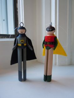 Batman and Robin Clothespin Doll Christmas by theClothespinEffect, $20.00