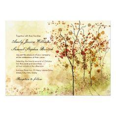Artistic Watercolor Autumn Trees Custom Wedding Invitation  #invitations #wedding #weddings #custom #template #templates #customize #customizable #personalized #personalize #stylish #design #professional #autumn #fall #orange #artistic