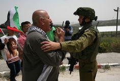 Israeli soldiers attacked, Monday, nonviolent protesters, marching in solidarity with the Palestinian detainees, near the Huwwara roadblock, south of the northern West Bank city of Nablus.