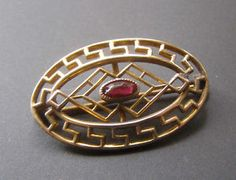 Antique Vintage Victorian Greek Key Garnet Red Stone Gold Filled Pin Brooch