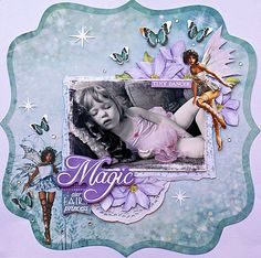 """Today, the very talented Kaisercraft Design Team have created some wonderful projects using Fairy Dust Specialty Papers Glimmer and Flutter. """"May all of your wishes come true"""" layout By Anita Bownds whispers Kids Scrapbook, Disney Scrapbook, Scrapbook Page Layouts, Scrapbook Pages, Altered Canvas, Kids Pages, Specialty Paper, Fairy Dust, Graphic 45"""