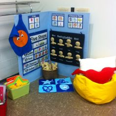 I hope to use Conscious Discipline in my future classroom. This is a really great example of a CD safe place. Students can come here when they need to calm down. There are several steps they can take and tools they can use.