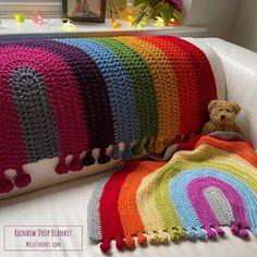 Rainbow Drop Blanket pattern by Melu Crochet Baby Afghan   Etsy Baby Afghan Crochet, Baby Afghans, Crochet Blanket Patterns, Stitch Patterns, Modern Crochet Patterns, Bobble Stitch, Rainbow, Photo Tutorial, Help Me