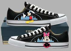 Hand Painted Converse Lo Sneakers. Mickey by GenuineTouchDesigns Oh my gosh I need these!!!!!