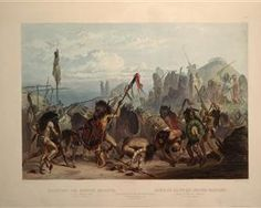 Buffalo-Dance of the Mandan Indians in front of their Medicine Lodge in Mih-Tutta-Hankush, plate 18 from Volume 2 of 'Travels in the Interior of North America' - Karl Bodmer