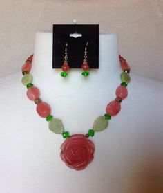 """The """"Forever Rose"""" Stone Statement Necklace Set on Etsy, $25.00"""