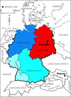 A map of how Germany was divided into zones-President Truman presented it as a 'compromise', but in fact the Allies had disagreed openly about:  the details of how to divide Germany.  the size of reparations Germany ought to pay. -Russian influence over the countries of eastern Europe.