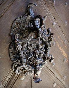 Mermaids - door detail in Sopron, Hungary Door Knockers Unique, Door Knobs And Knockers, Gate Handles, Knobs And Handles, Old Doors, Windows And Doors, Porches, Door Detail, Unique Doors