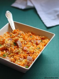 Here is a new compound salad recipe for today. It is a semolina salad with ham and grated carrots. If you are Weight Watchers fans, one share is worth 5 sp per person. Ingredients for 3 parts: 100 g couscous semolina … Healthy Salad Recipes, Vegetarian Recipes, Caprese Salat, Plats Weight Watchers, Couscous, Western Diet, Desert Recipes, Ham, Macaroni And Cheese