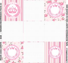 Convite Caixa Fundo Coroa de Princesa Rosa Floral