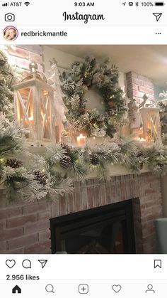 19 Beautiful Christmas Fireplace Decor and Design Ideas - Decoration Diy Christmas Tree Garland, Silver Christmas Decorations, Christmas Mantels, Noel Christmas, Holiday Decor, Pink Christmas, Christmas Fireplace Decorations, Fireplace Ideas, Mantle Decorating