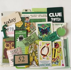 Mini Scrap Kit / 35 pc. Vintage Green Mini Inspiration Kit for Altered Art, Mixed Media, Journals, etc by TheBrownPear on Etsy https://www.etsy.com/listing/261145939/mini-scrap-kit-35-pc-vintage-green-mini