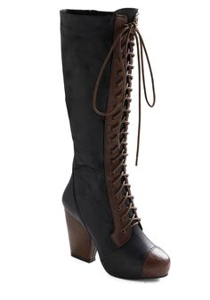 Victorian inspired boots from modcloth.com. The price tag is a little hefty at $304.99, but I love them still the same! Black leather, side zipper, brown leather accents. Oh, boots, how I want you!