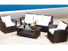 Charleston Wicker Sofa Group - 4 Piece Set - Comes in Black, Honey or White.  Made by Royal Teak Collection