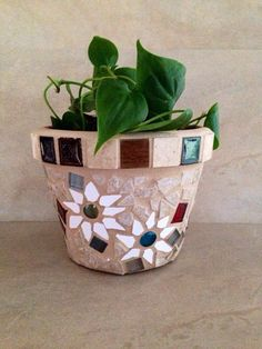 Mosaic flower pot outdoor planter mosaic glass by moZEHicDesigns