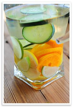 Flavored Water - Ingredients: 1 gallon fresh water, 3-4 slices of lemon, 3-4 slices of lime, 3-4 slices of other citrus (optional), 3-4 slices of cucumber. Instructions: Add all citrus and cucumber slices to water. Refrigerate until ready to serve. Prep Time: 5 minutes. Makes about 12 servings.