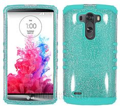 Clear Glitter Mint Blue Impact Shock Proof Cover for LG Optimus G3 Phone Case