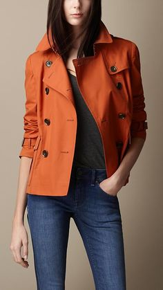 Burberry Brit Cotton Rainwear Trench Jacket  I have a coat exactly like this and had no idea how to wear it!