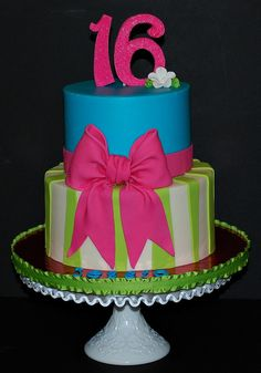 Its a 6/8 cake frosted in buttercream with fondant stripes and bow.  The flower is gumpaste and the 16 is gumpaste with pink sanding sugar on it for sparkle.  I love how it turned out!