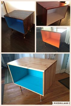 Record Player Stand With Storage by ArtisanModernGrain on Etsy More