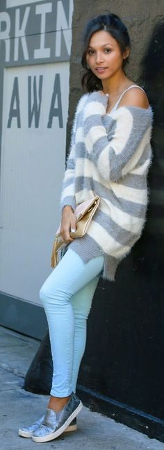 Fuzzy Striped One Shoulder Sweater