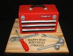 Mechanics Toolbox Novelty Birthday Cake                              …