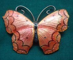 Antique Sterling Silver Coral Enamel Butterfly Brooch