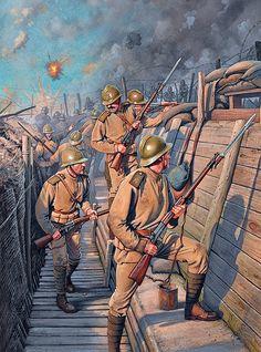 La Pintura y la Guerra. Sursumkorda in memoriam Military Art, Military History, Ww1 Art, Ww1 History, Ww1 Soldiers, Ww1 Photos, Military Drawings, Armadura Medieval, Historical Art