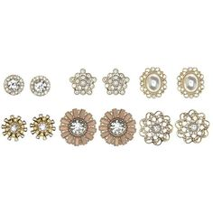 Charlotte Russe Embellished Floral Stud Earrings - 6 Pack ($6) ❤ liked on Polyvore featuring jewelry, earrings, gold, gold jewelry, floral jewelry, studded jewelry, yellow gold jewelry and gold stud earrings