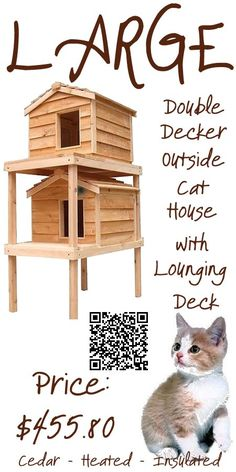 The Large Cedar Double Decker Outside Cat House with Lounging Deck design offers comfort for your cats. It especially gets your cats out of the way of predators when they go to the top level. It's elevated height keeps your cats from ground chill and wet conditions. The lounging deck is a great place for cat naps. The generous porch roof helps shield the doorway opening from dripping rain and melting snow. Between the two houses it will house up to 4 averaged size cats.www.catbedandtoy.com