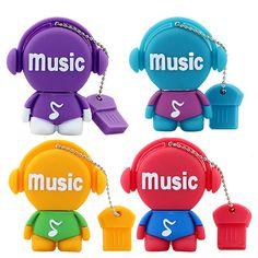 mini cute cartoon musicians 8GB 16GB 32GB 64GB USB Flash 2.0 Memory Drive Stick Pen Thumb/Car/Pen creative Gift free shipping