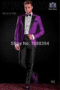 2016 Italian Design Black Lapel Purple Wedding Suits For Men Groom Tuxedos Groomsmen Prom Tuxedo Party Suits (Jacket+Pants+Bow)(China (Mainland))
