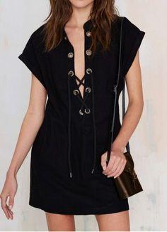 Stylish Stand Collar Cross Lace-Up Batwing Sleeve Black Women's Denim Dress