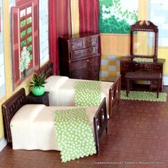 """Renwal CLASSIC TWIN BEDROOM w/ACCESSORIES Vintage Dollhouse Furniture 3/4"""""""