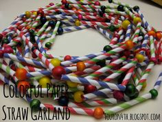 Super easy colorful paper straw garland for the Christmas tree.